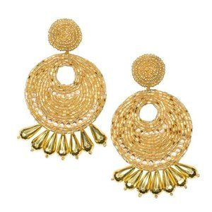 Kenneth Jay Lane Gold Seed Bead Round Earromg